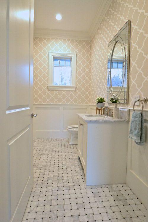 Guest Bathroom Marble Basket Weave Tile Floor Millwork Molding Wallpaper Beige Gray Neutrals Basketweave Tile Bathroom Basket Weave Tile Tile Bathroom
