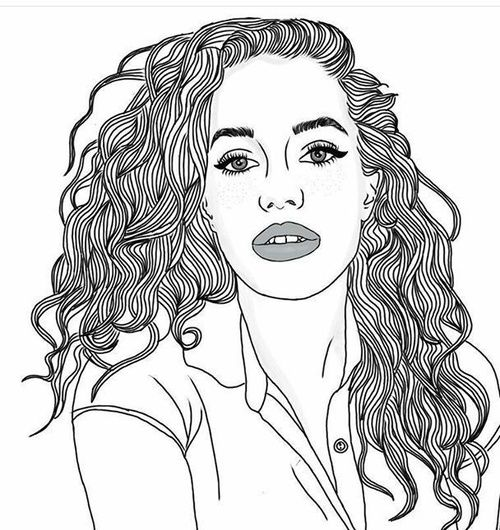 tumblr girl coloring pages - cool curly hair and drawings image tumblr outlines