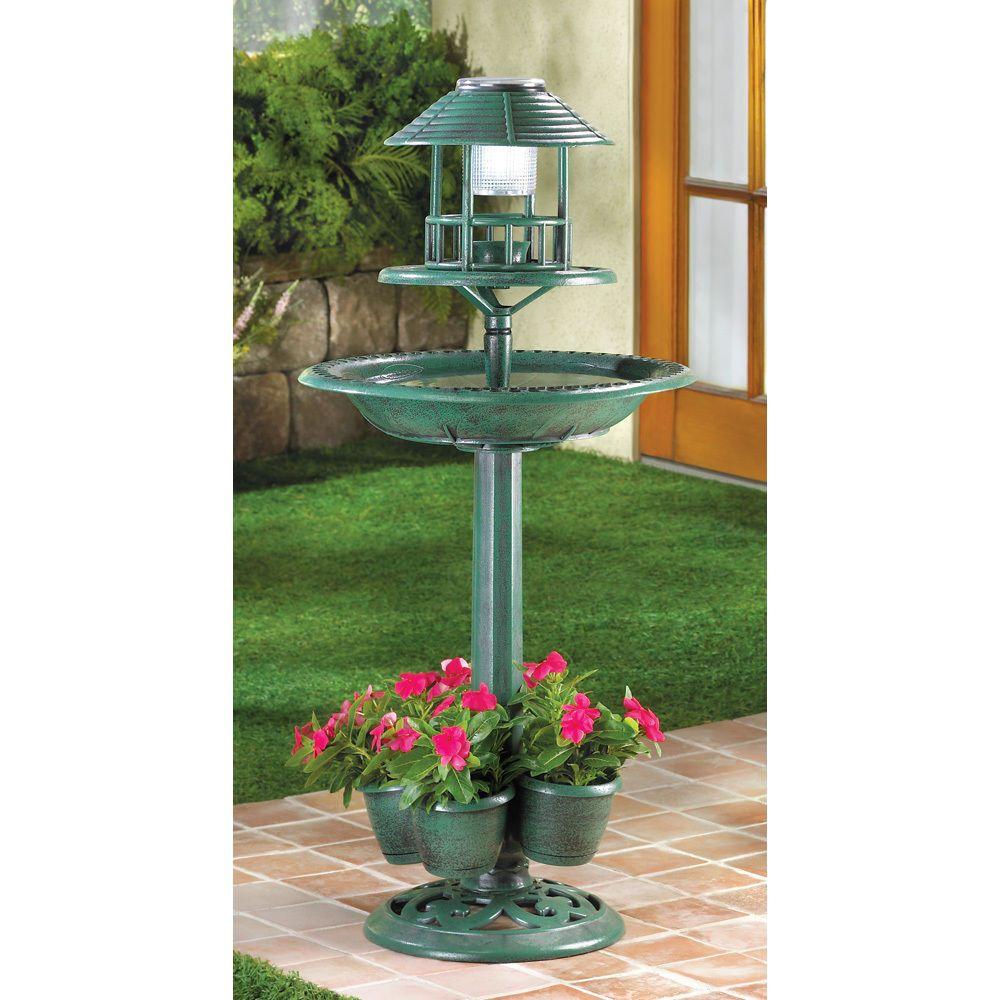 4 in1 SOLAR LED light lamp bird bath Bird feeder plant stand flower ...