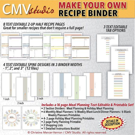 DIY Recipe Binder Editable And Printable Custom By