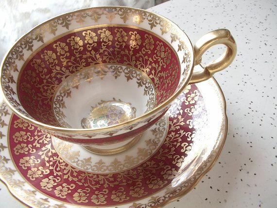 Antique English China Tea Cups Gold