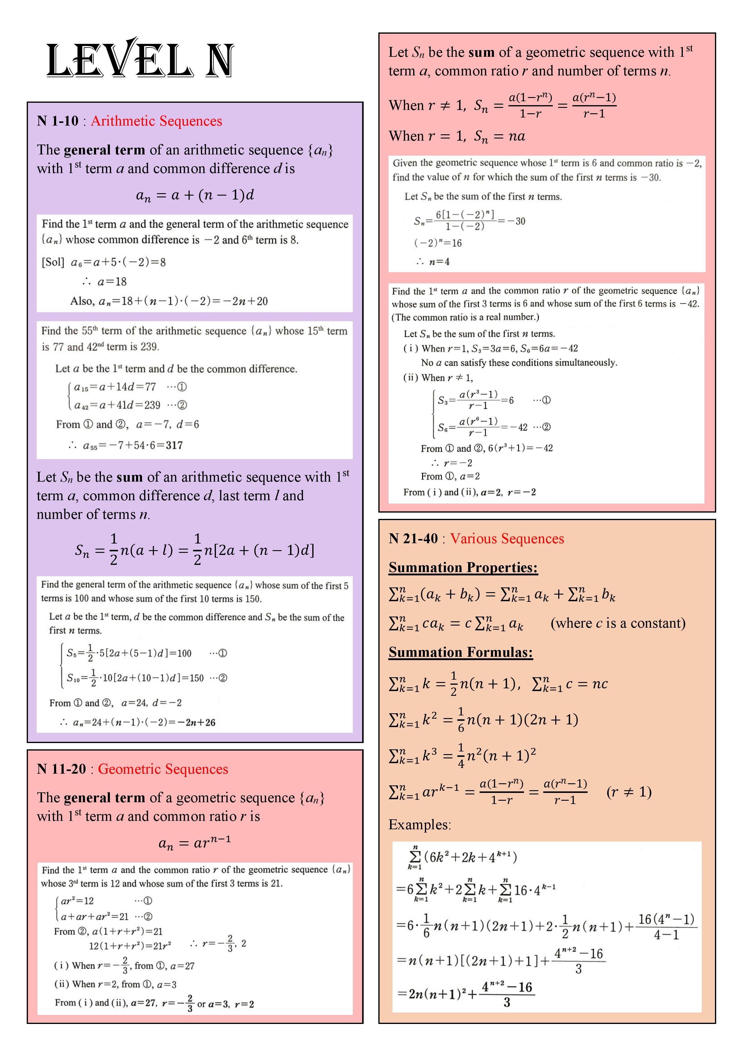 Note Summary 1 In 2021 Kumon Math Geometric Sequences Arithmetic [ 3508 x 2481 Pixel ]