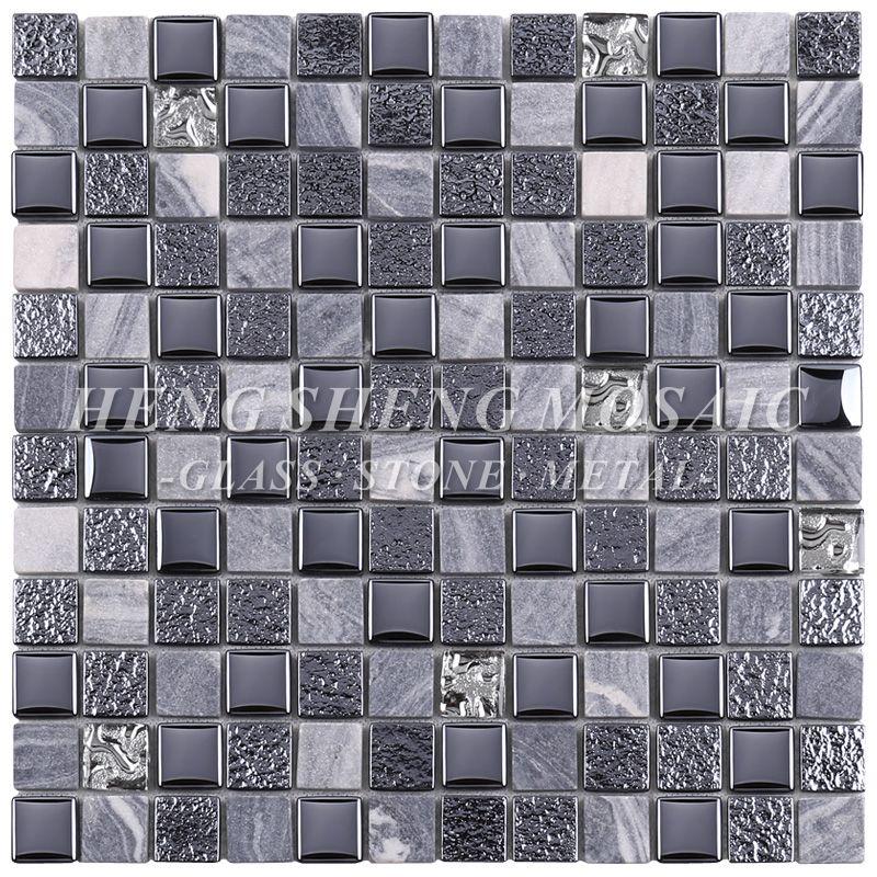 Hot Sale Tempered Philippines Black Glass Mosaic Kitchen