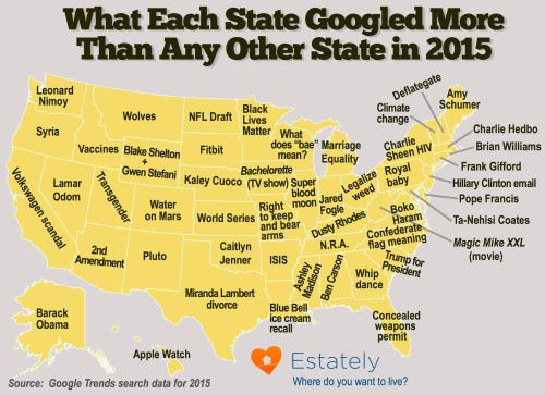 - What each US state googled more than any other state in...