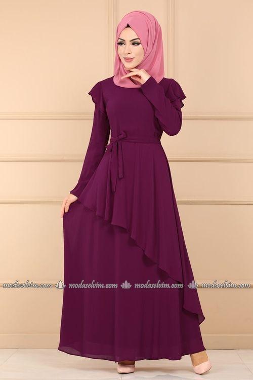 Modaselvim Elbise Asimetrik Kesim Kemerli Elbise 5027ef311 Murdum Elbise Elbiseler Giyim