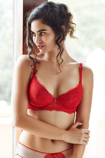 52dcf80b71e8b Zivame Satine Brides Padded Low Back Longline Bra- Ruby Red ...