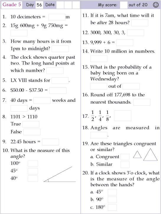 Mental Math Grade 5 Day 56 | maths | Mental maths worksheets