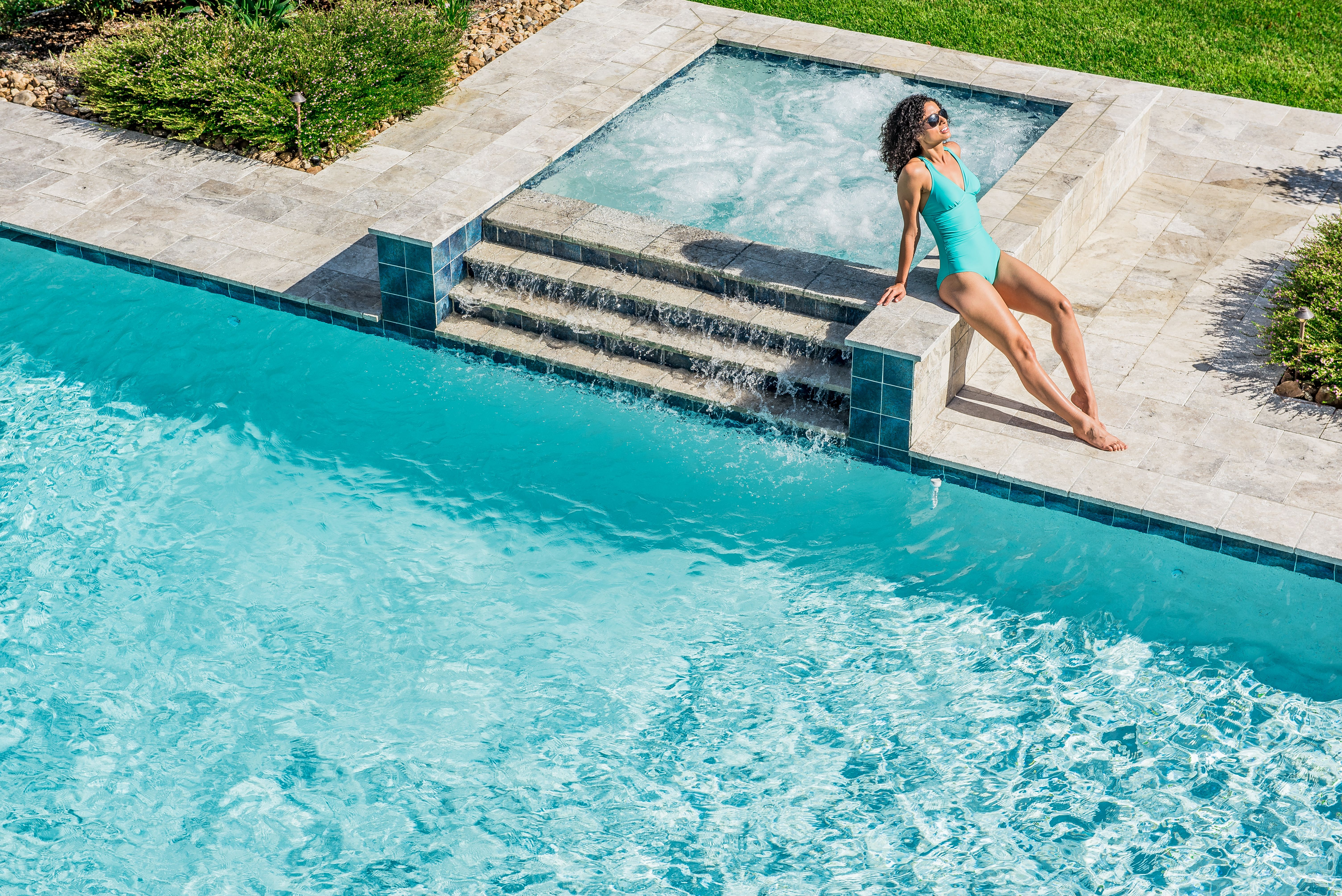 geometric pool spa geometric pool spa pool pool