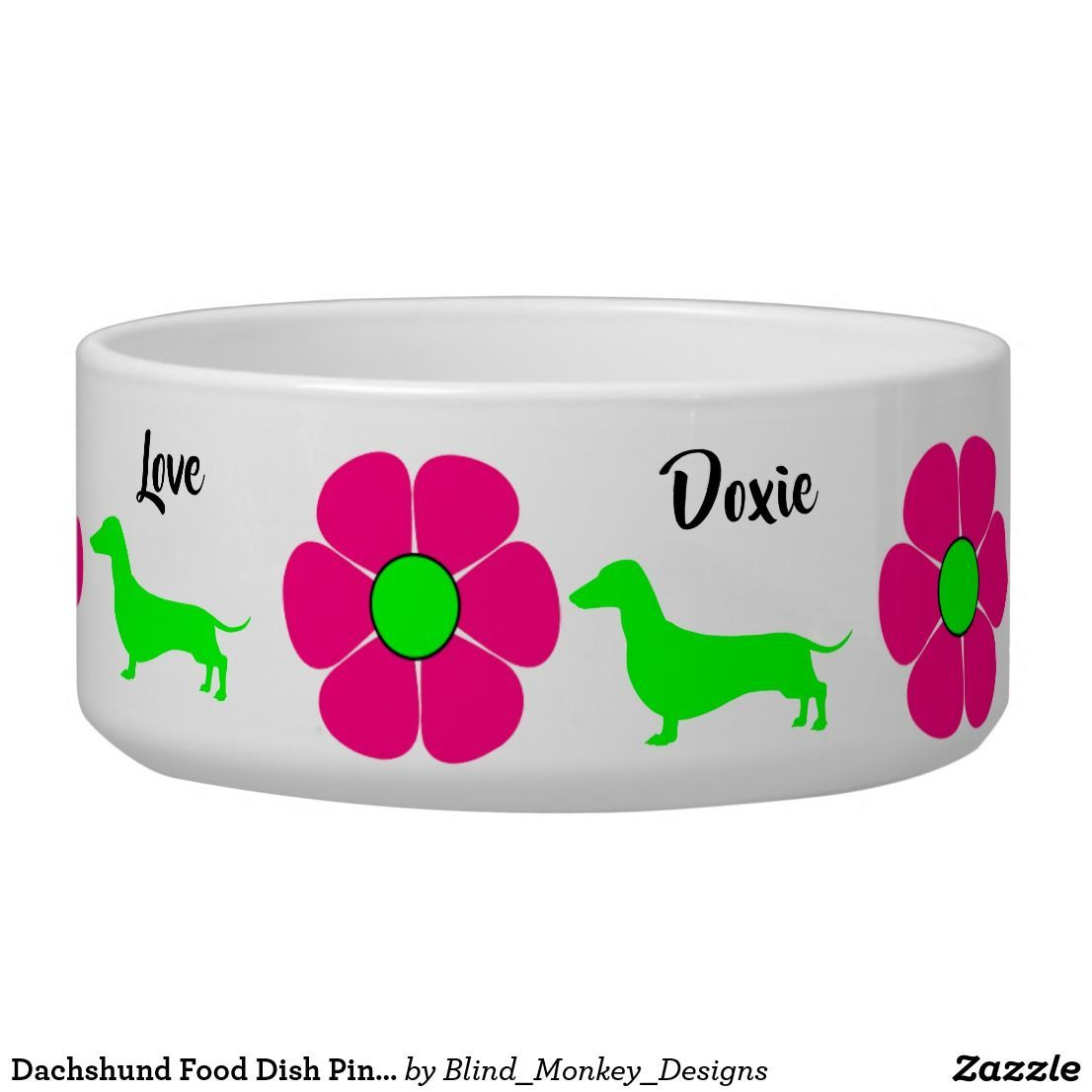 Dachshund Food Dish Pink Doxies Dog lover gifts