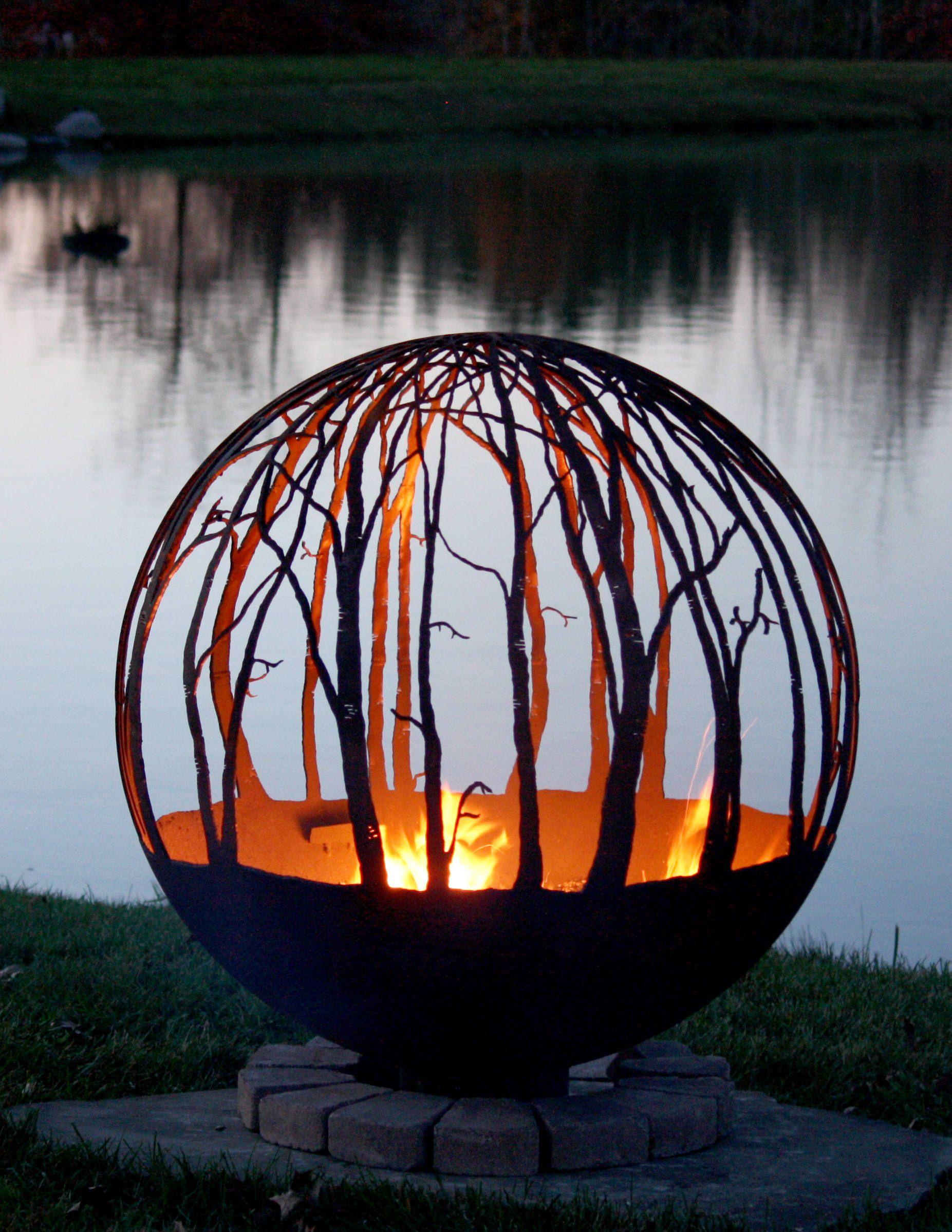 Winter Woods - Birch Tree Fire Pit | Outside fire pits ...