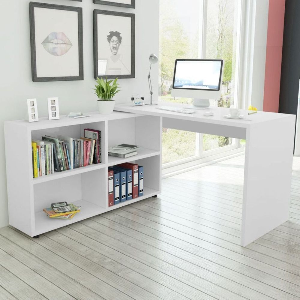 White Corner Desk Home Office Computer Table Study Workstation ...
