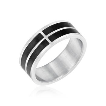 $4.99 - Stainless Steel Men's Ring with Black Stripe Design