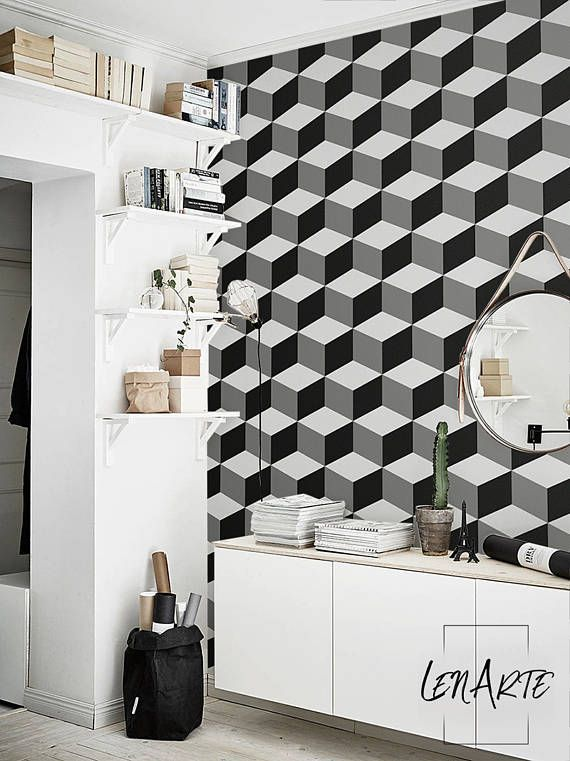 Cube Wallpaper 3d Pattern Modern Wallpaper Removable Wallpaper Peel And Stick Black And White Pattern Wall Covering 34 Home Decor Modern Wallpaper Decor