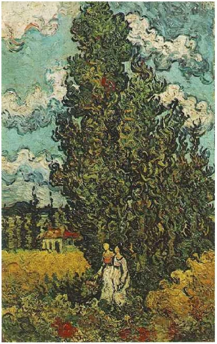 Cypresses and Two women ~ Painting, Oil on Canvas Saint-Rémy, France ...