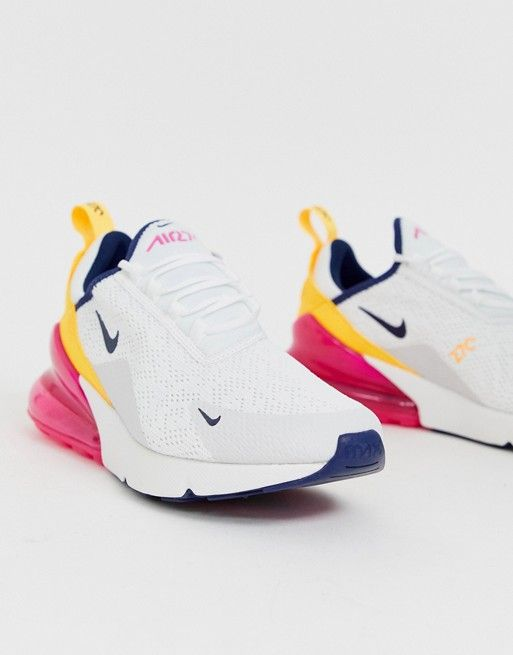 Nike Air Max 270 Flyknit Phillippines White Yellow Blue AH6789 105 Trainer Men's Women's Running Shoe