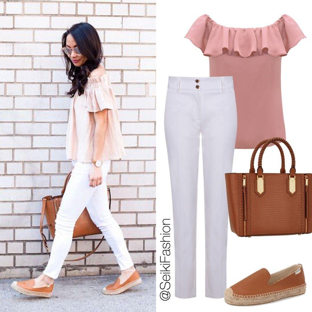 Tecidos leves e cores mais claras compõe perfeitamente o look com muito conforto! #ootd #rosa #calçabranca👠🔝👌Referências: Camisa 320225 Calça 650291