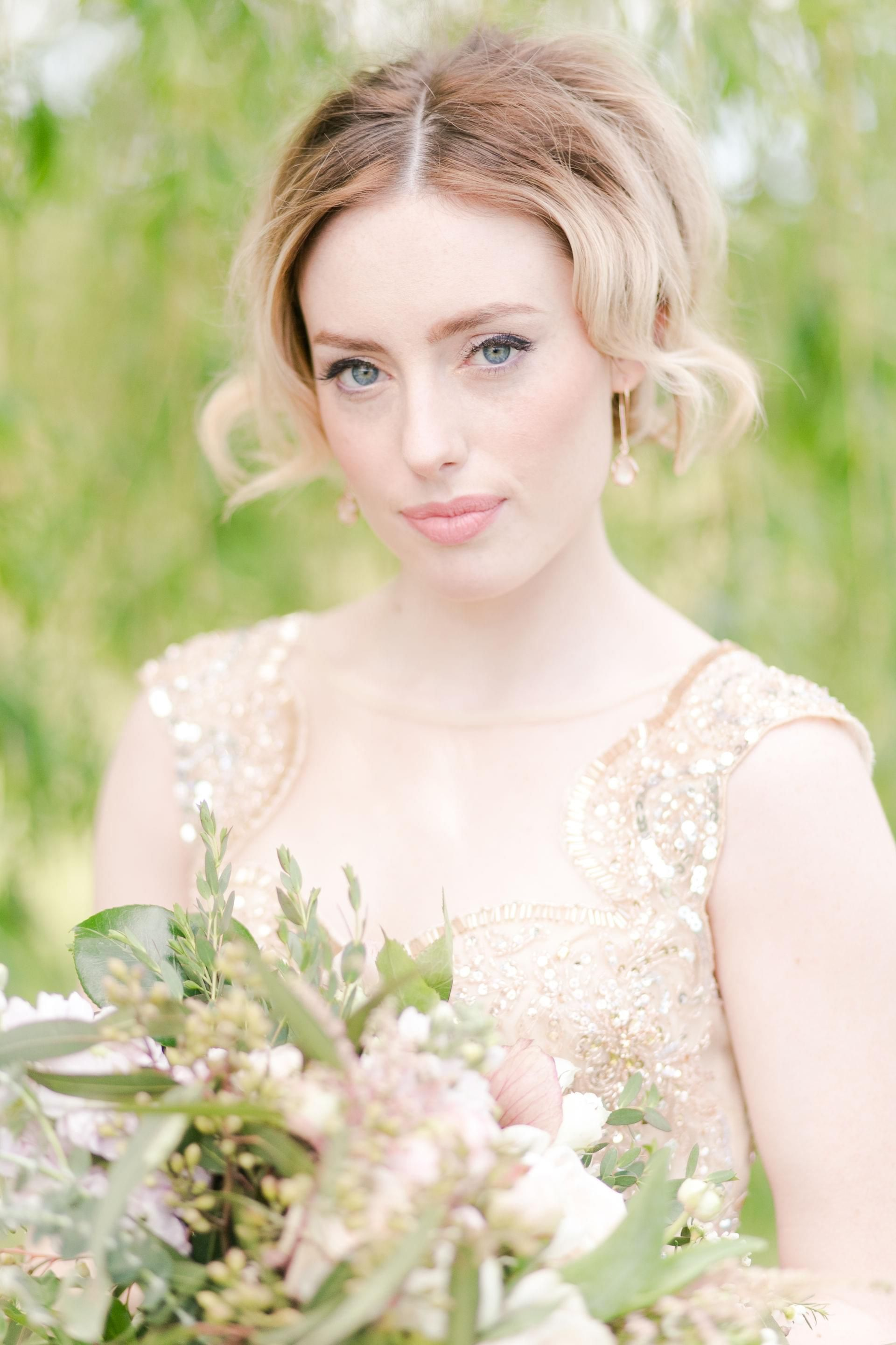 Bridal beauty ideas, ombré updo, face-framing curls, peach lipstick // M. Cave Photography