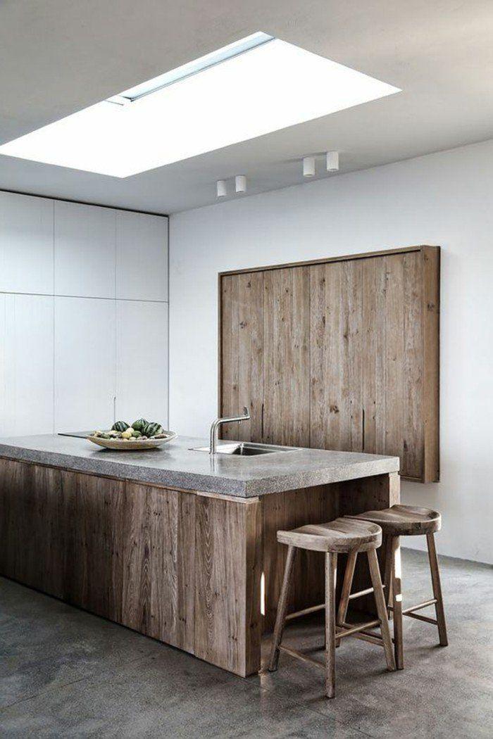 cuisine quipe avec ilot central plan de travail original plancher en bton cir - Cuisine Equipee Avec Ilot