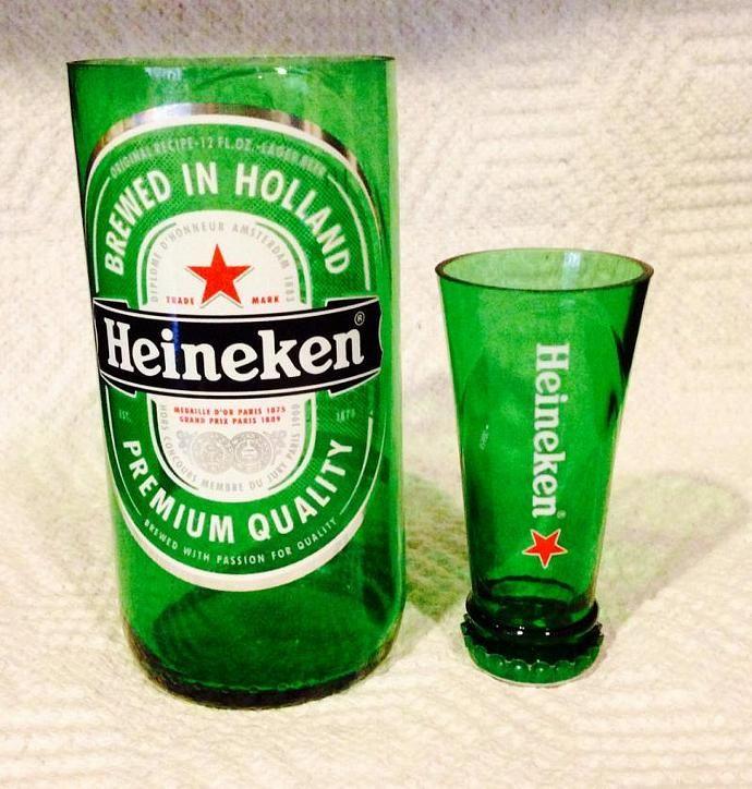 Heineken Beer Bottle Shot Glass Chaser Set. Recycled Glass Bottle. Man Cave. by RandomCraftsBySundee, $10.00 USD