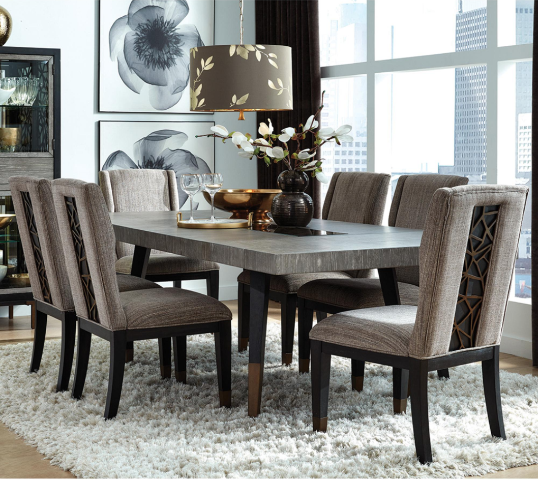 Nicolette Home Ryker Table and 9 Chairs in Nocturn Black and ...