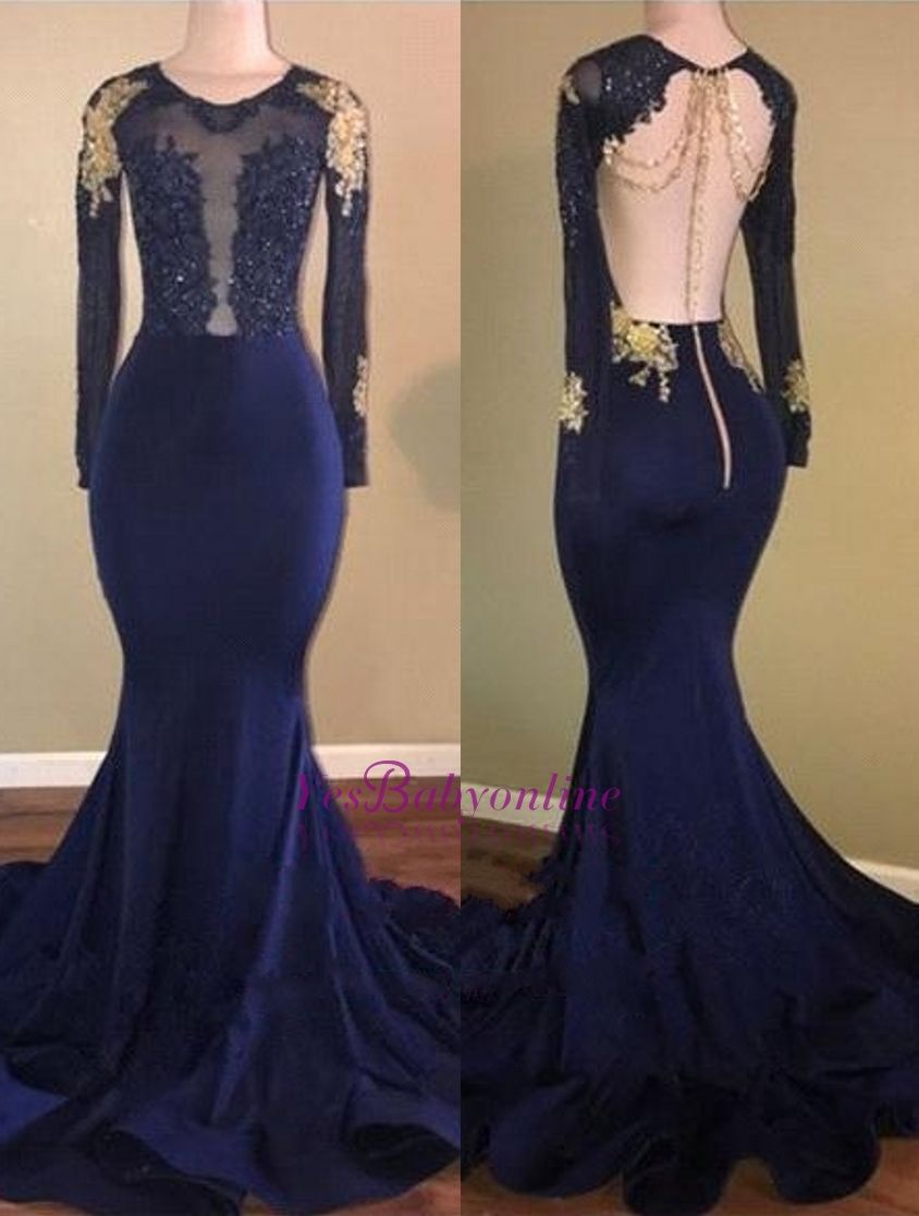 Gold Appliques Navy Blue Mermaid Long Sleeves Sheer Prom