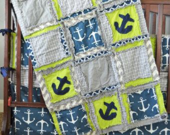 Check out Nautical Custom Crib Set - Baby Boy Nursery Bedding Sets - Rag Quilt, Bumpers, Skirt, Fitted Sheet - Nautical Baby Bedding Green, Navy, Gray on avisiontoremember