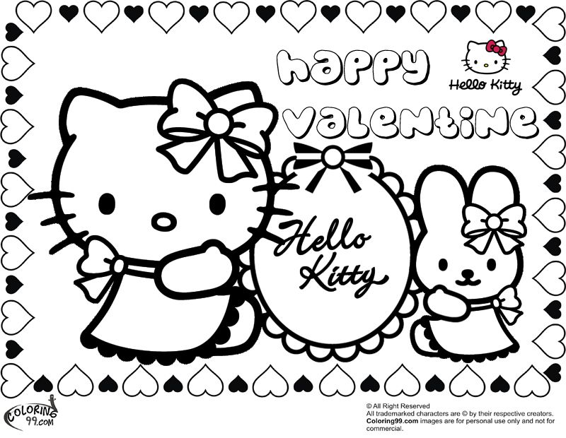 for kids who love sanrio celebrating valentine by coloring these hello kitty valentine coloring pages - Coloring Pages Kitty Summer