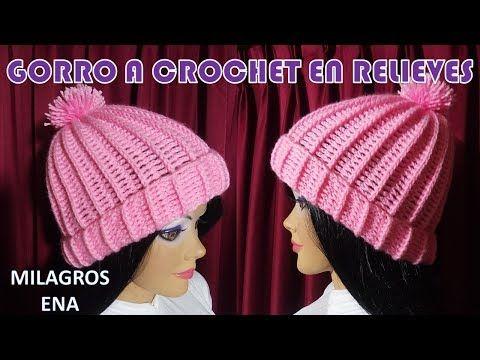 Gorro a crochet en puntos RELIEVES paso a paso FÁCIL DE TEJER PARA ...