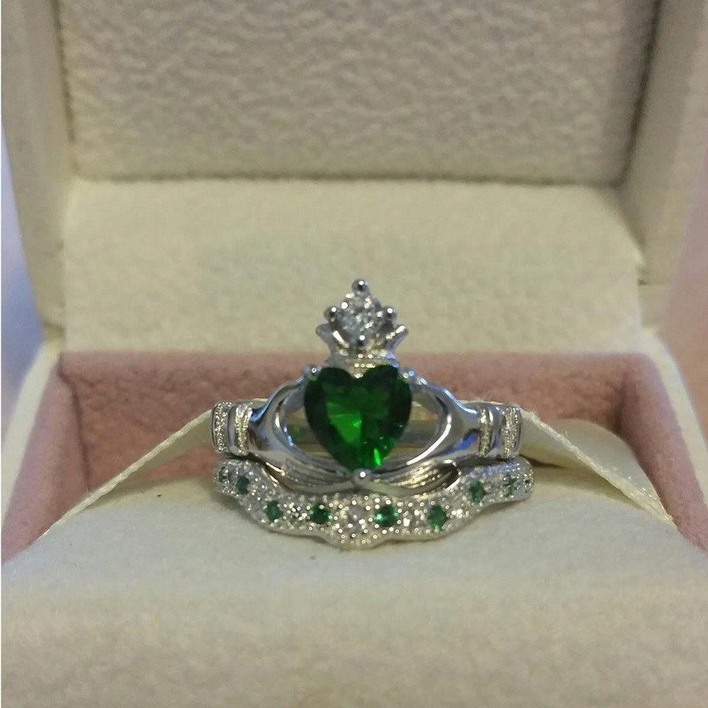Silver Emerald Claddagh Wedding Engagement Ring Set Irish Green