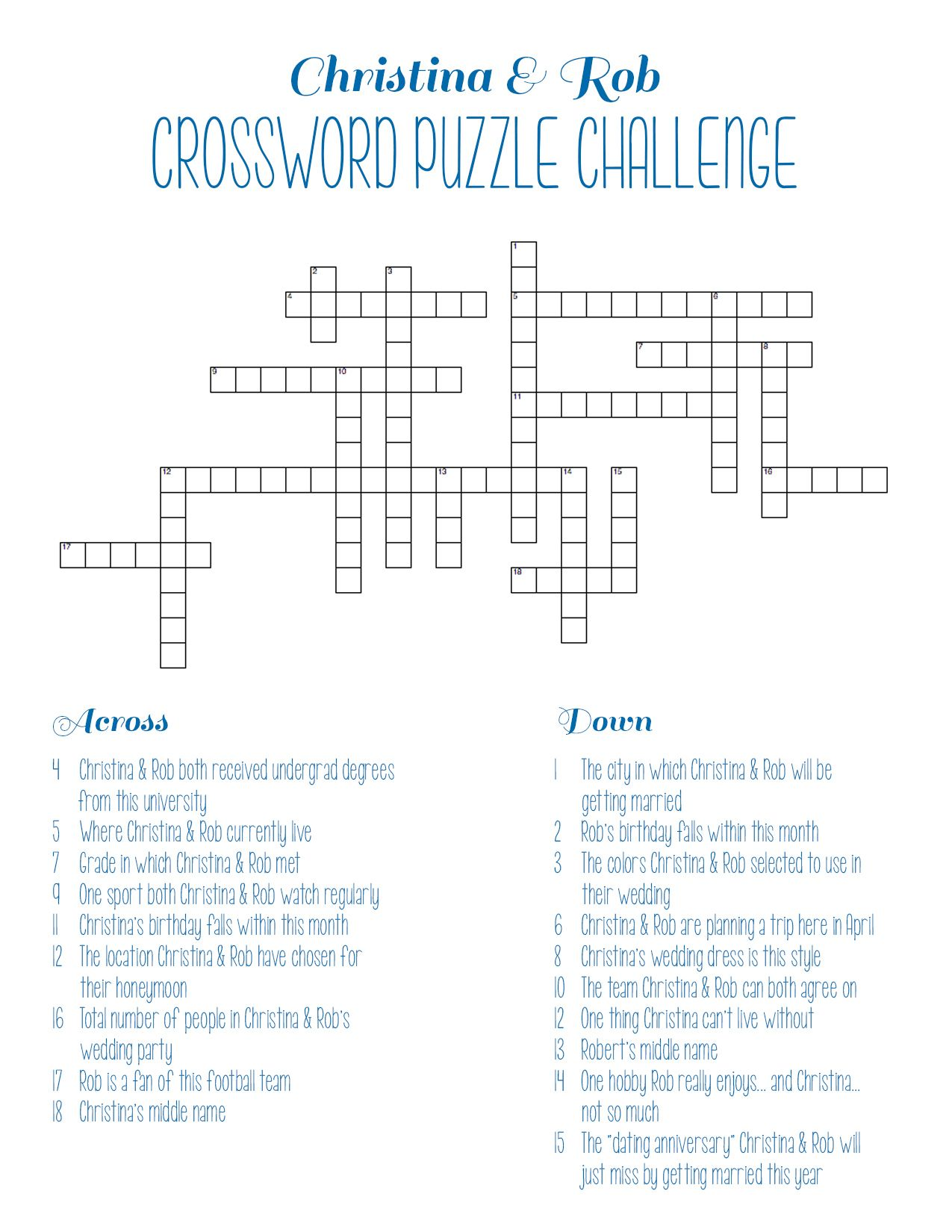 personalized bridal shower crossword puzzle