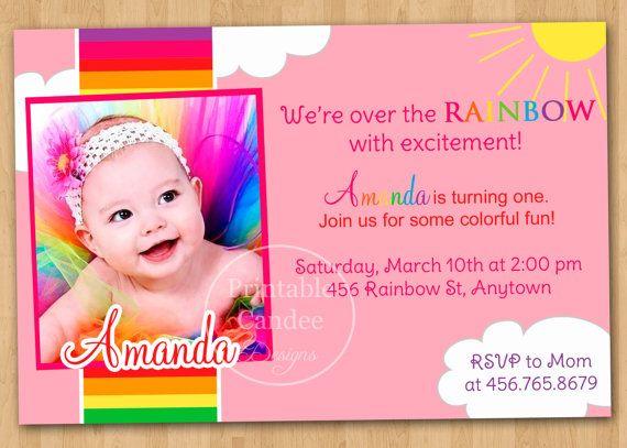 Rainbow First Birthday Invitation Custom By Printablecandee