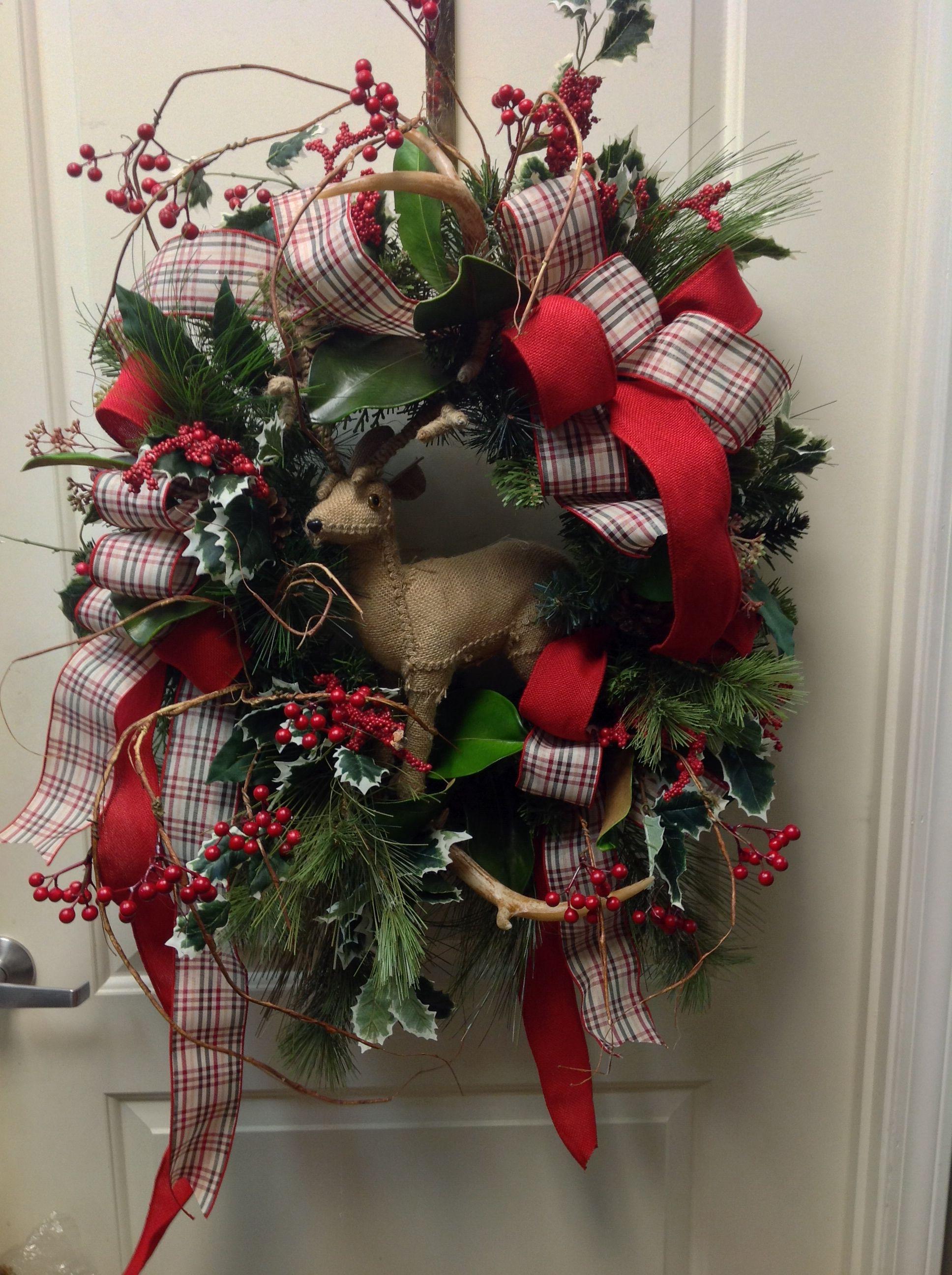 Wreath with deer antlers wreaths pinterest deer for Antler christmas wreath
