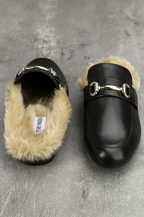 285ad3a4d5a3 The Steve Madden Jill Black Leather Faux Fur Loafer Slides are here and  ready to impress! Buttery genuine leather shapes a rounded toe upper  finished with ...