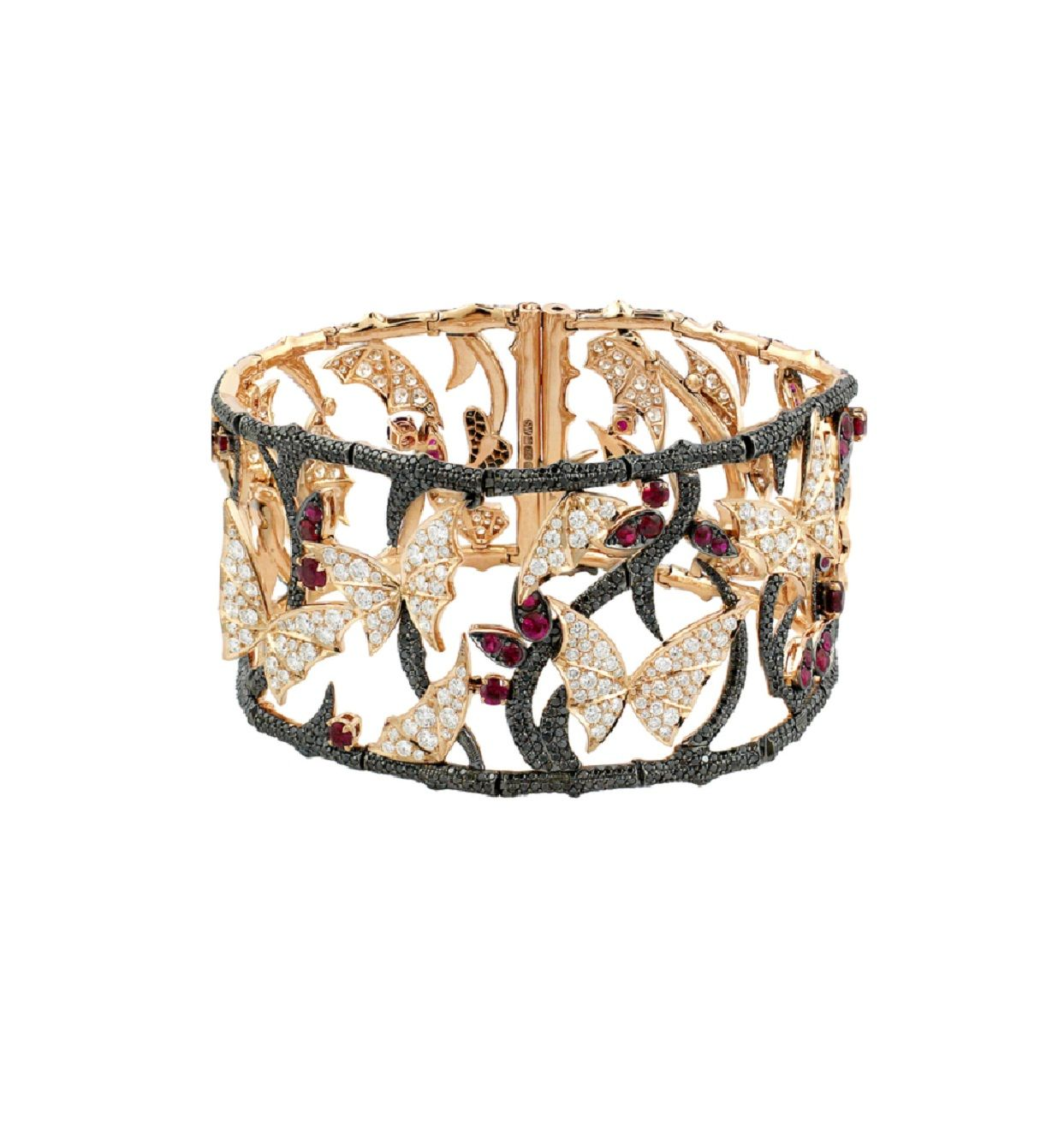 FOREST CUFF Fly By Night 18k rose gold, rubies, black and white diamonds