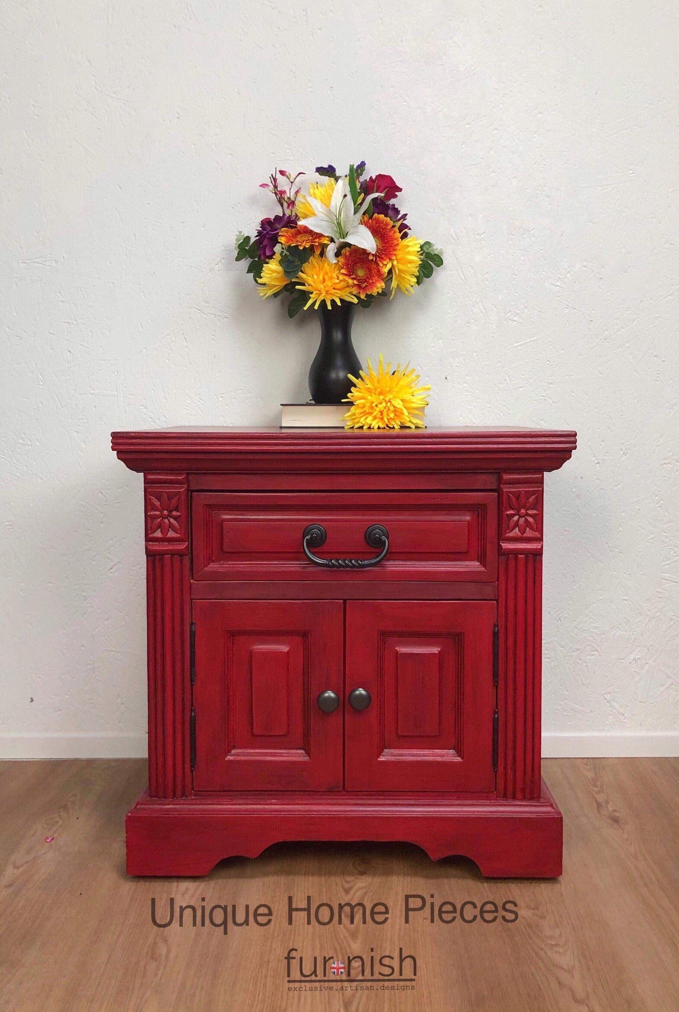 Large Red Side Cupboard And Drawer. Pine beds, Selling