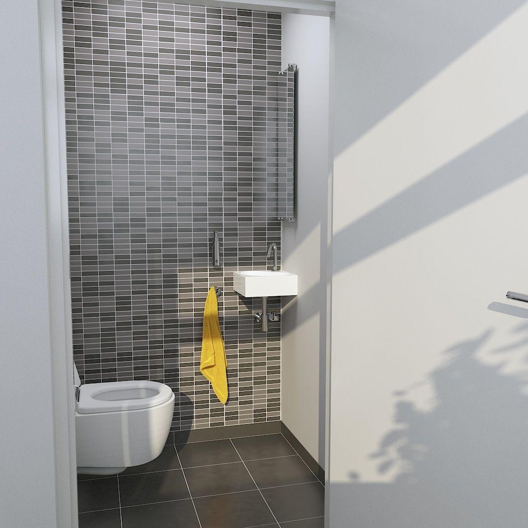 Tijdloze toilet met grijstinten mozaïek. | Badkamer inspiratie ...