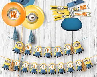 Minions Birthday Party Pack   Kids Party Digital Files   Party Supplies    INSTANT DOWNLOAD
