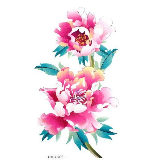 Amazon.com : King Horse Waterproof tattoo sticker hot selling colored flowers and enchanting peony : Temporary Tattoos : Toys & Games