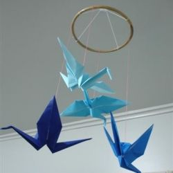 An origami crane mobile I made to hang in my new room!