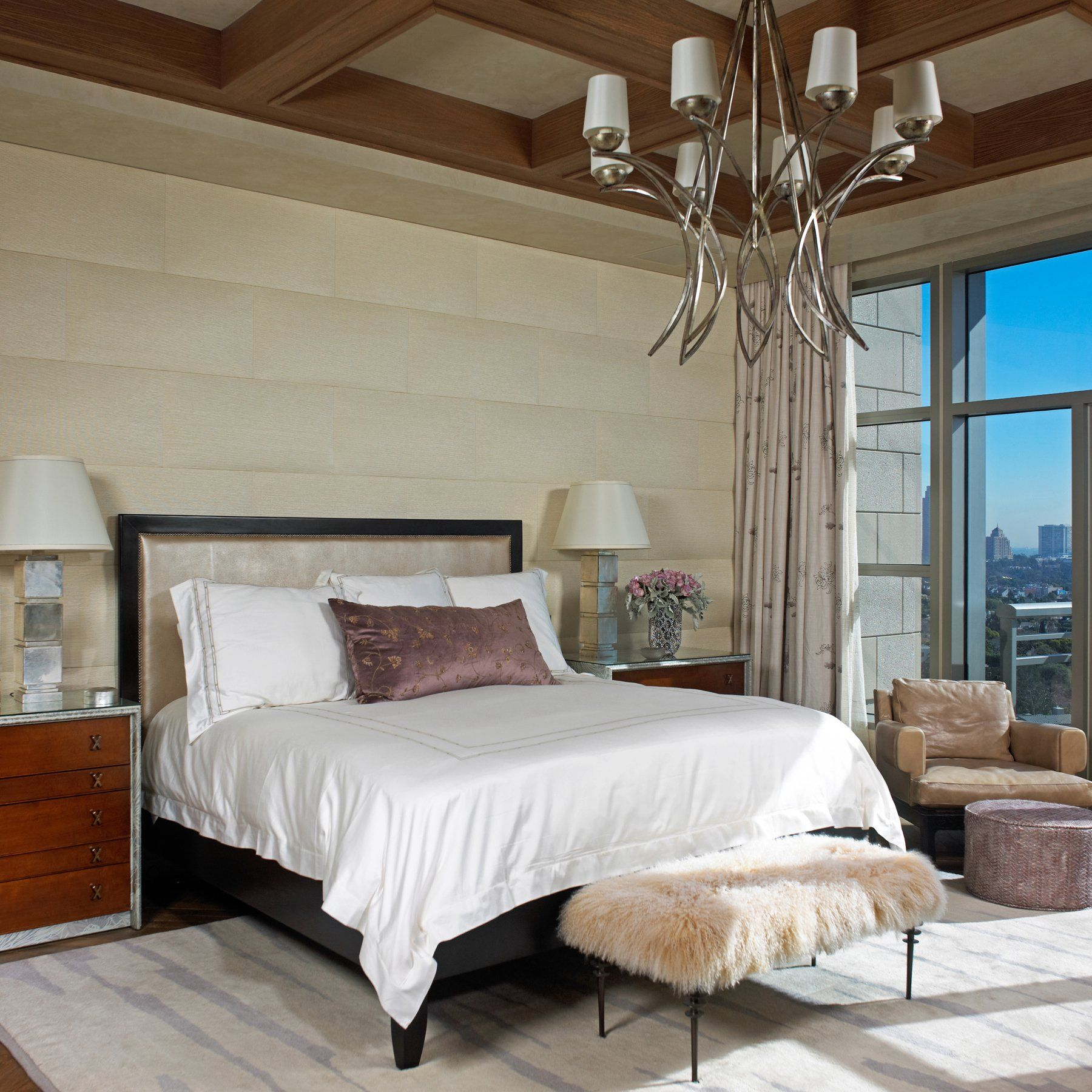 Custom Driftwood-style Coffer Ceiling With Venetian