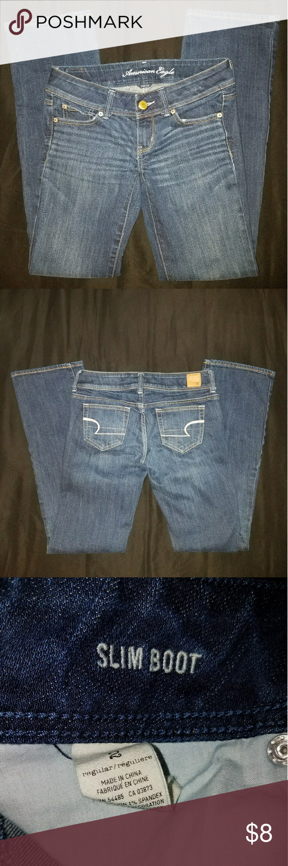 American Eagle Slim Boot Jeans Size 2R American Eagle Jeans, Slim Boot, Dark wash, Size 2 Regular. Never worn, washed and tried on. Too big, too long. Perfect like new condition. Make me an offer! Comes from a pet friendly home. American Eagle Outfitters Jeans Boot Cut