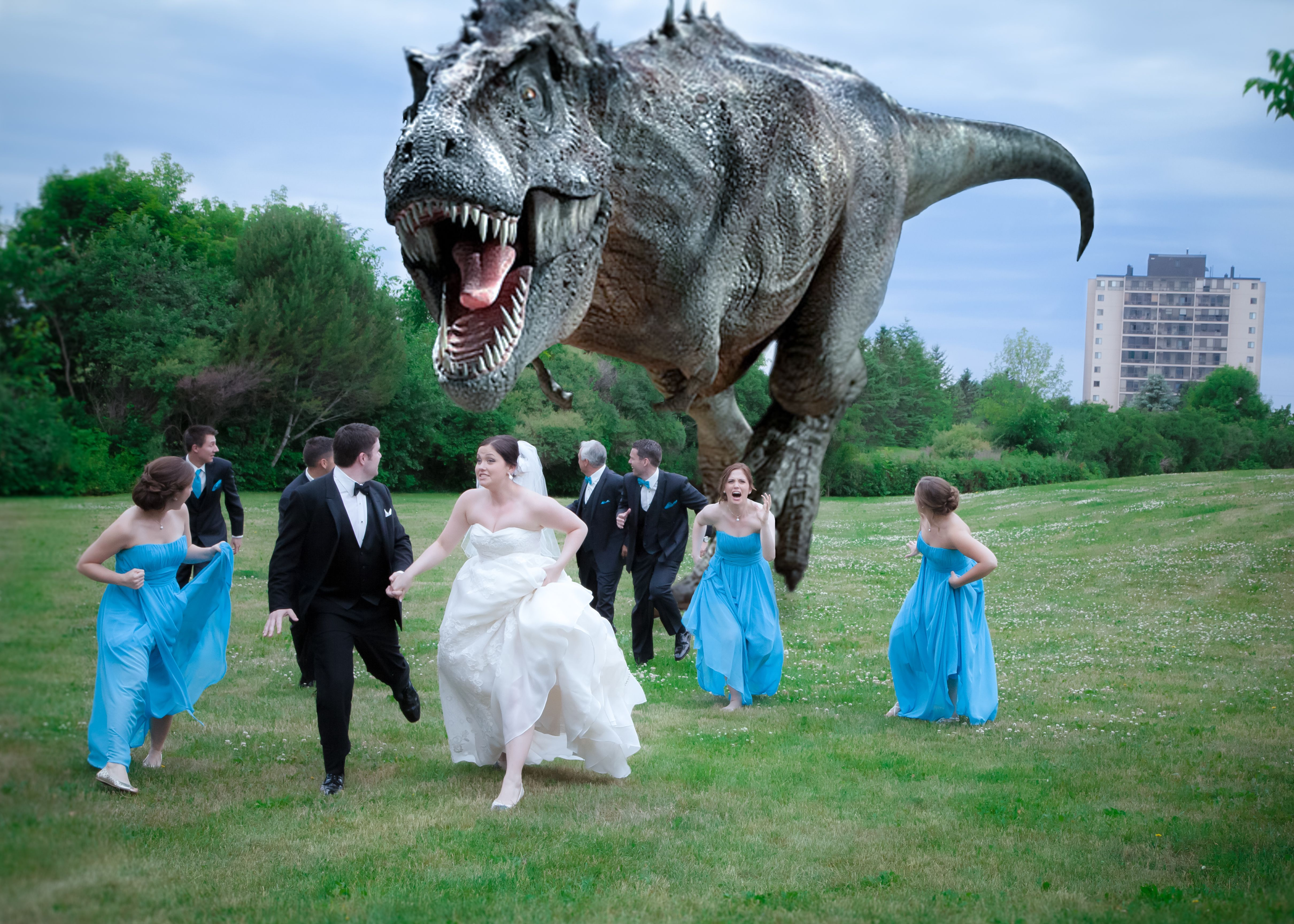 Dino Attack The Couple Thought It Would Be Fun To Have A Dinosaur Chase Their Wedding Party Dinosaur Wedding Photography Dinosaur Photo