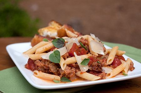 Pasta with Italian Sausage and Tomatoes | Never Enough Thyme - Recipes and food photographs with a slight southern accent.