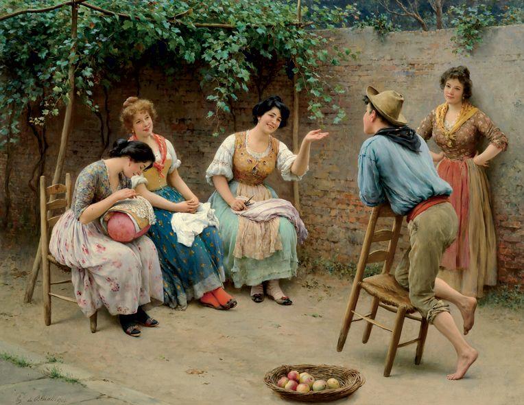 """Conversation"" 1905 -Eugene de Blaas"