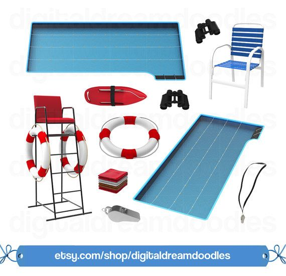 Swimming Pool Clipart Clip Art Lifeguard Graphic Indoor Image Life Buoy PNG Olympic Platform Scrapbook Digital Download