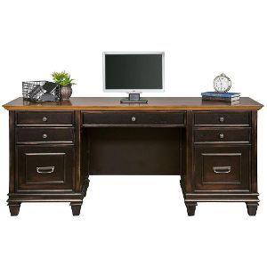 Espresso And Golden Oak Vintage Office Desk Hartford