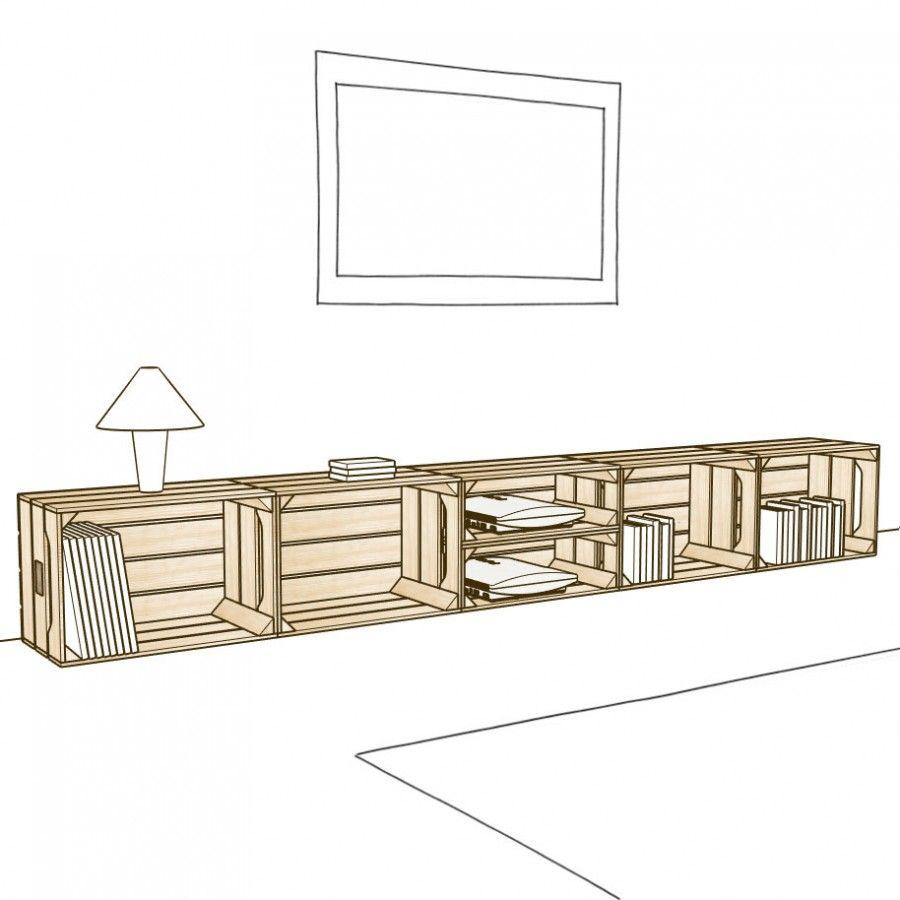 Meuble Tv 4s2h Palettes Creations Pinterest Salons  # Grand Meuble Tv Modulable Sous Escalier