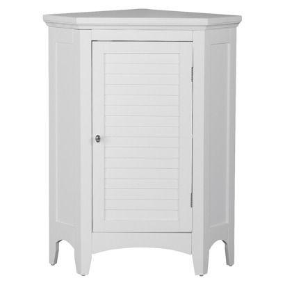 Elegant Home Fashion Slone Corner 1 Door White Shuttered Floor Cabinet Bathroom Floor Cabinets Furniture For Small Spaces Elegant Homes