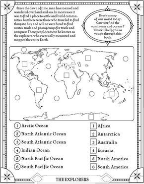 find the oceans and continents page. free printable