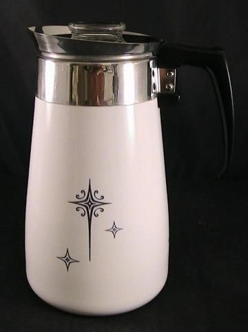 Pyrex Coffee Maker How To Use : RARE Vintage Corningware Black Starburst 9-cup stovetop coffee percolator DECORATIVE USE by ...